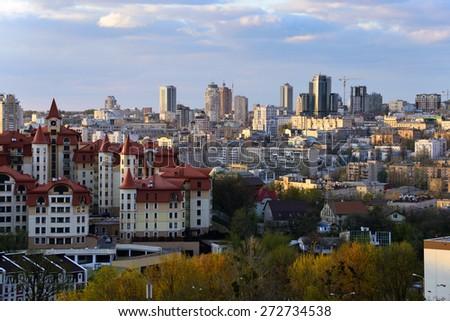 Kiev cityscape in spring - stock photo