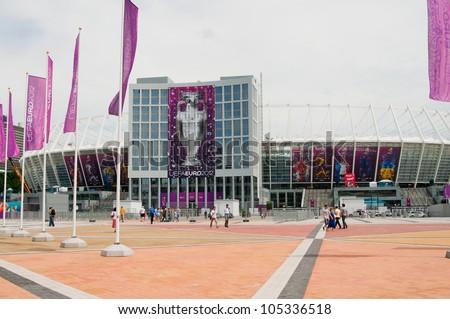 KIEV-JUNE 14:Renewed Olympic Sport Stadium before match Ukraine-Sweden on June 14, 2012 in Kiev,UKRAINE.National Sport complex Olimpiysky selected as place for final EURO 2012 football championship. - stock photo