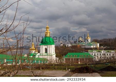 Kiev. Kiev-Pechersk Lavra. View of the cave - stock photo