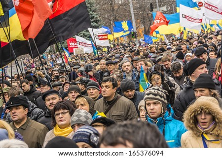 "KIEV (KYIV), UKRAINE - DECEMBER 1, 2013: Hundreds of thousands protest in Kiev against suspension of EU Association and forceful break up of pro-European ""Euromaidan"" meeting by police on Friday night"