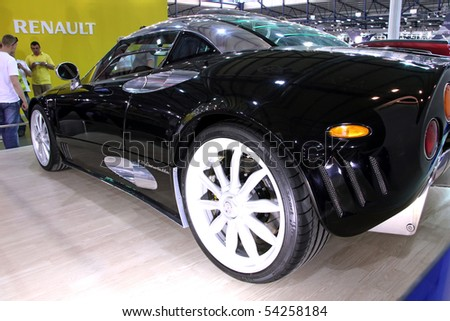 "KIEV - MAY 27: Black Spyker C8 Laviolette on display at Annual automotive-show ""SIA 2010"" May 27, 2010 in Kiev, Ukraine."
