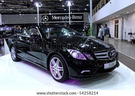 "KIEV - MAY 27: Mercedes-Benz E-class on display at Annual automotive-show ""SIA 2010"" May 27, 2010 in Kiev, Ukraine. - stock photo"