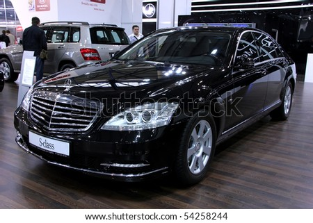 "KIEV - MAY 27: Mercedes-Benz S-class on display at Annual automotive-show ""SIA 2010"" May 27, 2010 in Kiev, Ukraine. - stock photo"