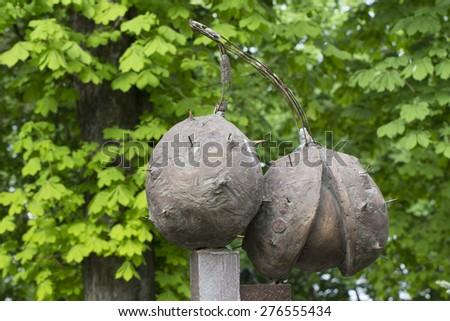 KIEV - MAY 9: Newly established statue of chestruts - the symbol od Kiev. May 9, 2015 in Kiev, Ukraine - stock photo