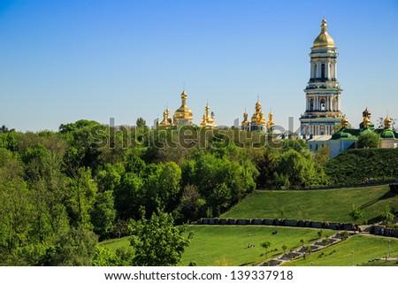 Kiev overview with Dnieper river and Kiev Pechersk Lavra or Kyiv Pechersk Lavra (Kyievo-Pechers'ka lavra - stock photo