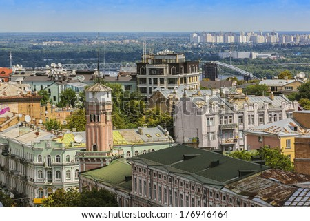 Kiev panorama from Bell tower of Sophia Cathedral. Kiev, Ukraine. Kiev is capital of Ukraine and one of oldest cities of Eastern Europe. Kiev was founded in late 9th century.