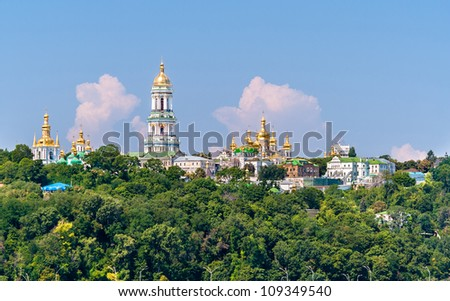 Kiev Pechersk Lavra Orthodox Monastery. View from the Paton Bridge. Ukraine - stock photo