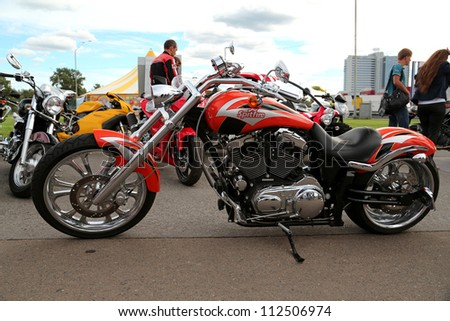 "KIEV - SEPTEMBER 7: Harley Davidson Screaming Eagle at yearly automotive-show ""Capital auto show 2012"". September 7, 2012 in Kiev, Ukraine - stock photo"