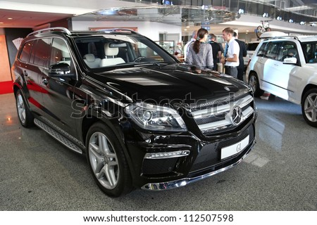 "KIEV - SEPTEMBER 7: Mercedes-Benz GL 500 at yearly automotive-show ""Capital auto show 2012"". September 7, 2012 in Kiev, Ukraine - stock photo"