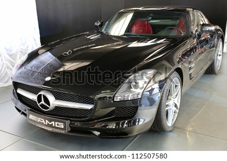 "KIEV - SEPTEMBER 7: Mercedes-Benz SLS AMG at yearly automotive-show ""Capital auto show 2012"". September 7, 2012 in Kiev, Ukraine"