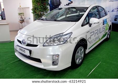 "KIEV - SEPTEMBER 10:Toyota Prius at Yearly automotive-show ""Capital auto show 2010"". September 10, 2010 in Kiev, Ukraine. - stock photo"