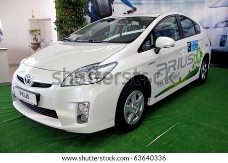 "KIEV - SEPTEMBER 10: Yearly automotive-show ""Capital auto show 2010"". September 10, 2010 in Kiev, Ukraine. Toyota Prius - stock photo"