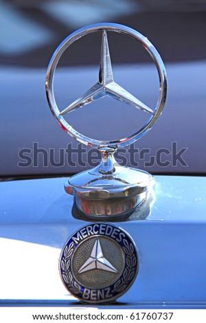 "KIEV - SEPTEMBER 10: Yearly automotive-show ""Retro auto show 2010"". September 10, 2010 in Kiev, Ukraine. Mercedes-Benz emblem - stock photo"