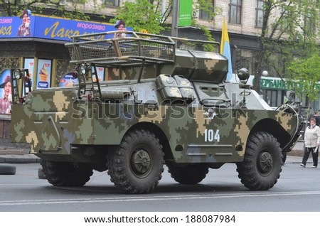 KIEV, UKRAINE - APR 19, 2014: Downtown of Kiev Police and military transport on the main street. Putsch of Junta in Kiev. Kiev.April 19, 2014 Kiev, Ukraine