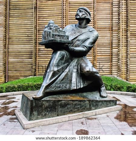 KIEV, UKRAINE - APR 20, 2014:Monument to Yaroslav Mudry (The Wise), Grand Prince of Novgorod and Kiev, holding Saint Sophia's Cathedral in his hands at Golden gate.April 20, 2014 Kiev, Ukraine - stock photo