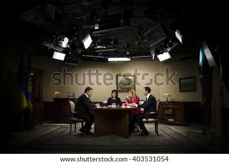 KIEV, UKRAINE - Apr 10, 2016: President of Ukraine Petro Poroshenko gave an interview to Ukrainian TV channels - stock photo