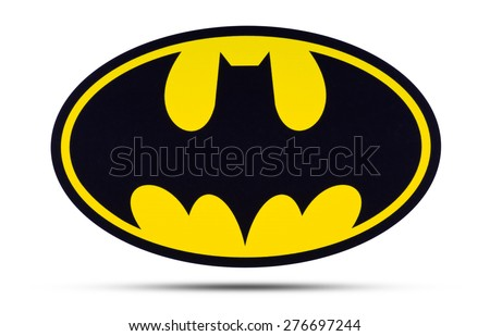 KIEV, UKRAINE - APRIL 16, 2015:  Batman  logo  printed on paper and placed on white background. Batman is one of the most popular and well-known comic book characters and fictional characters. - stock photo