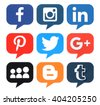 Kiev, Ukraine - April 09, 2016: Collection of popular bubble shape social media logos printed on paper:Facebook, Twitter, Google Plus, Instagram, MySpace, LinkedIn, Pinterest, Tumblr and Blogger - stock photo