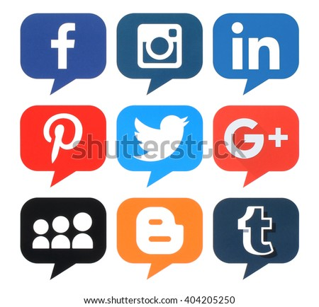 Kiev, Ukraine - April 09, 2016: Collection of popular bubble shape social media logos printed on paper:Facebook, Twitter, Google Plus, Instagram, MySpace, LinkedIn, Pinterest, Tumblr and Blogger