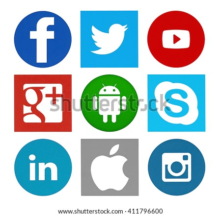 Kiev, Ukraine - April 14, 2016: Collection of popular social media logos printed on paper: Facebook, Twitter, Google Plus, Instagram, LinkedIn, YouTube and others. - stock photo