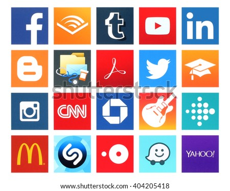 Kiev, Ukraine - April 09, 2016: Collection of popular 20 square icons of social networking, books, business, education, finance, food, health, medical, music, navigation, news, photo and others