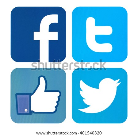Kiev, Ukraine - April 02, 2016: Facebook and Twitter like logo for e-business, web sites, mobile applications, banners,Social network facebook and twitter sign on pc sign. - stock photo