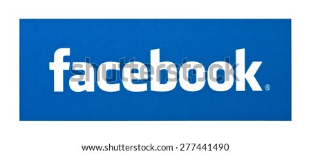 KIEV, UKRAINE - APRIL 08, 2015: Facebook like logo for e-business, web sites, mobile applications, banners, printed on paper and placed on white background. Social network facebook sign on pc sign. - stock photo