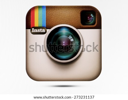KIEV, UKRAINE - APRIL 23, 2015:Instagram logotype camera on pc screen. Instagram - free application for sharing photos and videos with the elements of a social network.
