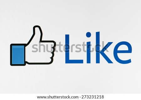 KIEV, UKRAINE - APRIL 23, 2015: Like us on Facebook icon  on pc screen. Facebook is a  one of the largest social networks in the world. - stock photo