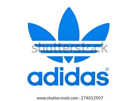 KIEV, UKRAINE - APRIL 29, 2015: Logo of brand Adidas printed on paper