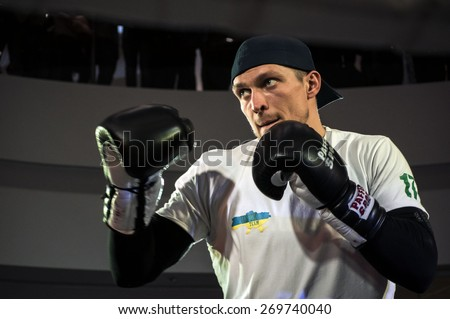 KIEV, UKRAINE - April 15, 2015: Opened training Aleksandr Usyk before the fight with Russian Andrei Knyazev. Champion for the WBO heavyweight Alexander Usyk (6 wins, 6 - KO)  - stock photo