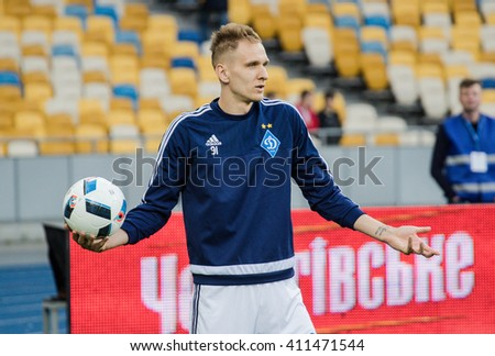 KIEV, UKRAINE - APRIL 24, 2016: Polish forward Lukaz Teodorczyk of Dynamo Kiev in training before the match Ukrainian Premier League against Vorskla Poltava at NSC Olympiysky stadium