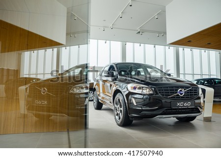 KIEV, UKRAINE - 27 APRIL : Presentation first official showroom Volvo in Ukraine. New model Volvo in showroom. 27 April 2016, Kiev, Ukraine.