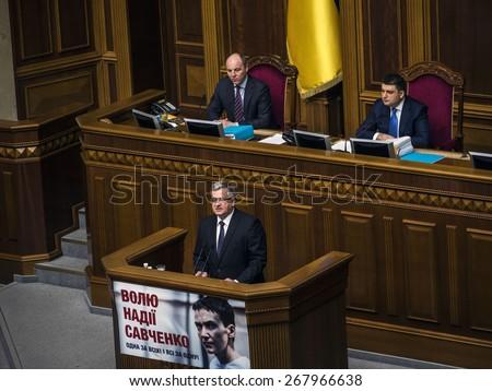 KIEV, UKRAINE - April 9, 2015: President of Poland Bronislaw Komorowski  gave a speech in the Ukrainian parliament, the president of Petro Poroshenko and the Cabinet came to hear him.  - stock photo