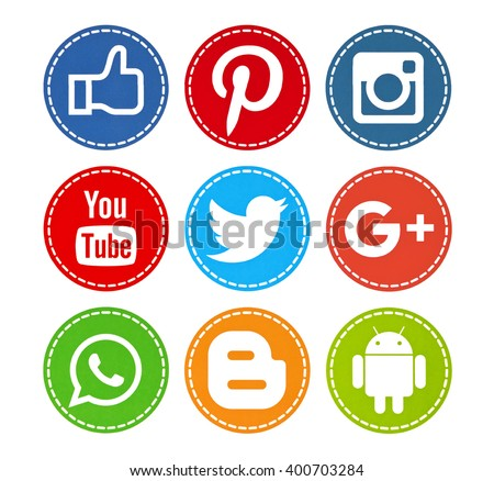 Kiev, Ukraine - April 04, 2016: Set of most popular social media icons: Facebook, Twitter,Youtube, Pinterest, Instagram, Google Plus, WhatsApp, Android, Blogger printed on paper. - stock photo