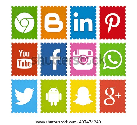 Kiev, Ukraine - April 18, 2016: Set of most popular social media icons: Facebook, Twitter,Youtube, Pinterest, Instagram, WhatsApp, Blogger, Android, Google Plus,Snapchat, Chrome printed on paper. - stock photo