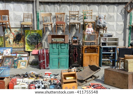 Kiev, Ukraine, April 10, 2016. Swap meet, sale of old things - stock photo