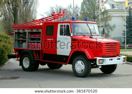 Kiev, Ukraine - April 25, 2005. The red fire truck for the transport of fire hoses