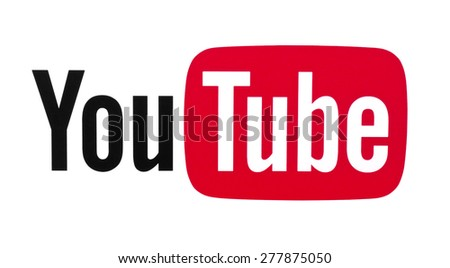 KIEV, UKRAINE - APRIL 30, 2015: YouTube logotype printed on paper.  YouTube is the popular online video-sharing website. Users can add, view, comment and share with your friends by various videos. - stock photo
