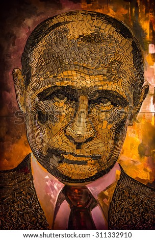 KIEV, UKRAINE - Aug 25, 2015: The face of war. Portrait of Russian President Vladimir Putin made by bullet casings from the battlefields in the Donbas. Artist Daria Marchenko.