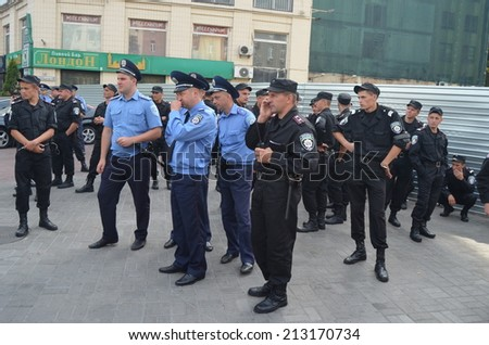 KIEV, UKRAINE - AUG 24, 2014. Ukrainian police during President Poroshenko Victory parade in downtown. August 24, 2014 Kiev, Ukraine