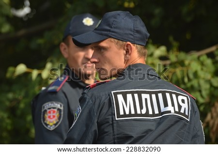 KIEV, UKRAINE - AUG 24, 2014.Ukrainian police during President Poroshenko Victory parade in downtown. August 24, 2014 Kiev, Ukraine  - stock photo