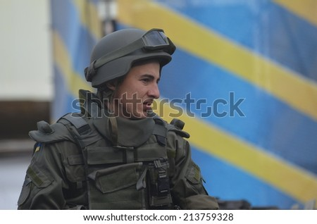 KIEV, UKRAINE - AUG 24, 2014.Ukrainian troops during President Poroshenko Victory parade in downtown. August 24, 2014 Kiev, Ukraine  - stock photo