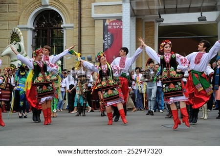KIEV, UKRAINE - AUGUST 24: A team of ukrainian dancers show their performances at Independence Day on August 24, 2013 in Kiev, Ukraine
