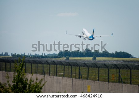 KIEV, UKRAINE - AUGUST 05, 2016:  Aircraft company Ukraine International Airlines takeoff from Boryspil Airport