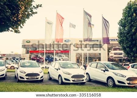 KIEV, UKRAINE - AUGUST 20, 2015: Ford, Volvo, Land Rover, Jaguar Car Selling Center at Moskovskyi Prospekt in Kiev, Ukraine. - stock photo