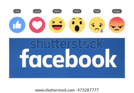 Kiev, Ukraine - August 23, 2016: New Facebook logo with like button and Empathetic Emoji Reactions printed on white paper. Facebook is a well-known social networking service.