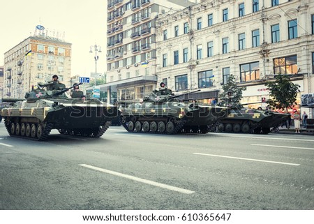 Kiev, Ukraine - August 19, 2016: Rehearsals for military parade for Independence Day