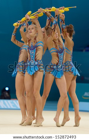 KIEV, UKRAINE - AUGUST 31: Team Austria performs the routing with clubs during the 32nd Rhythmic Gymnastics World Championships in Kiev, Ukraine on August 31, 2013