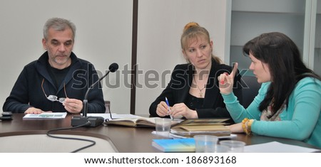 KIEV, UKRAINE -Â?Â? CIRCA MARCH 2014: The minister and participants of ministerial work group in the Ministry of health discuss ways of Ukrainian medical system reformation on March 2014 in Kiev, Ukraine.